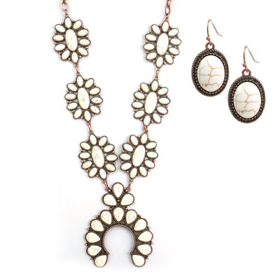 Large White  Squash Blossom Necklace and earrings