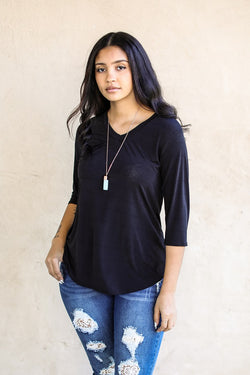 L&B Black 3/4 Sleeve Pocket T