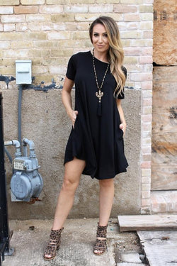 Black Short Sleeve Swing dress with pockets