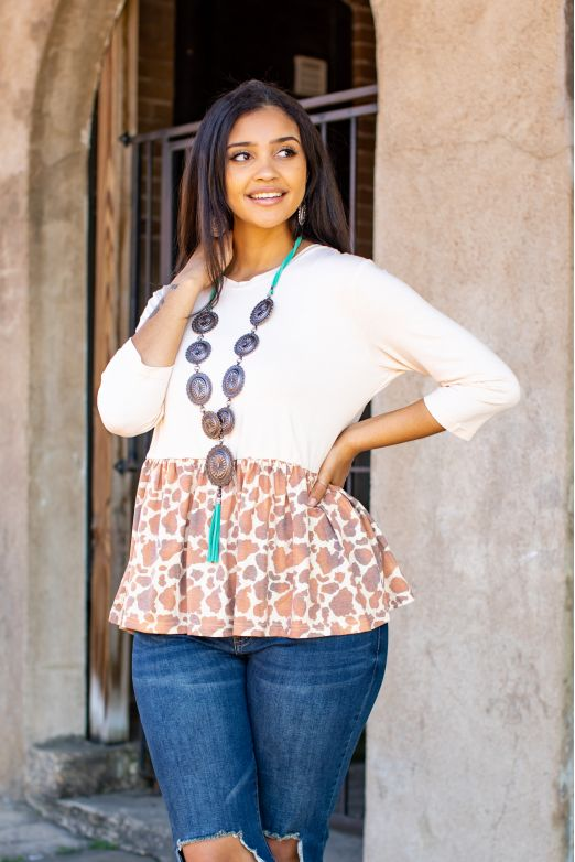 Cowhide Print Drop Waist Tunic