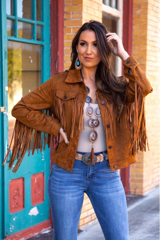 Brown Suede Moto Jacket with Fringe