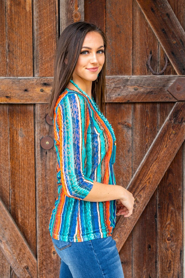 Turquoise & Orange 3/4 Sleeve Lace Top with Stretch