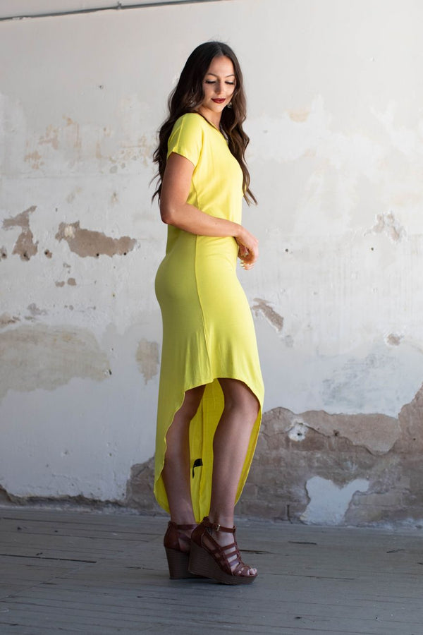 Lemon Off The Shoulder Maxi Dress With Asymmetrical Hem