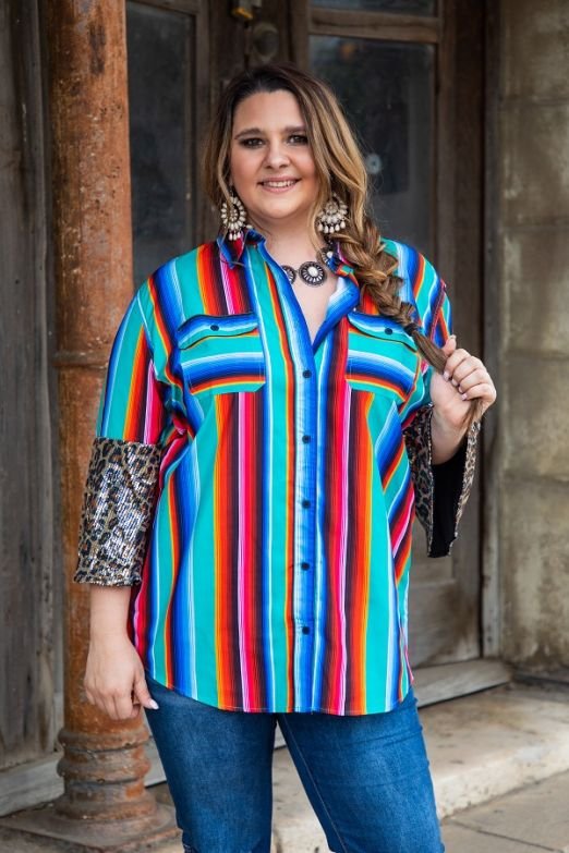 Serape Button up with Leopard Sequin Sleeve