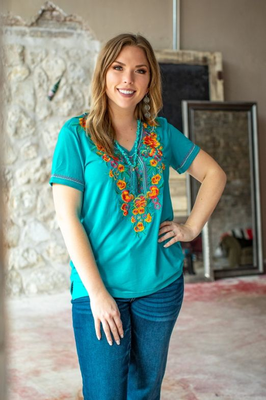 Teal Embroidered Top