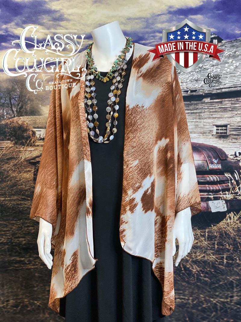 Classy Cowgirl Co Cowhide Print Kimono- Lightweight Spring/Summer