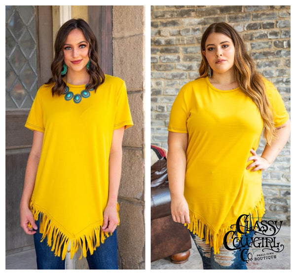 Mustard Short Sleeve Top w/ Fringe Hem & Black Stitching