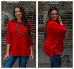 Red Scoop Neck 3/4 Sleeve Tunic with Side Slits