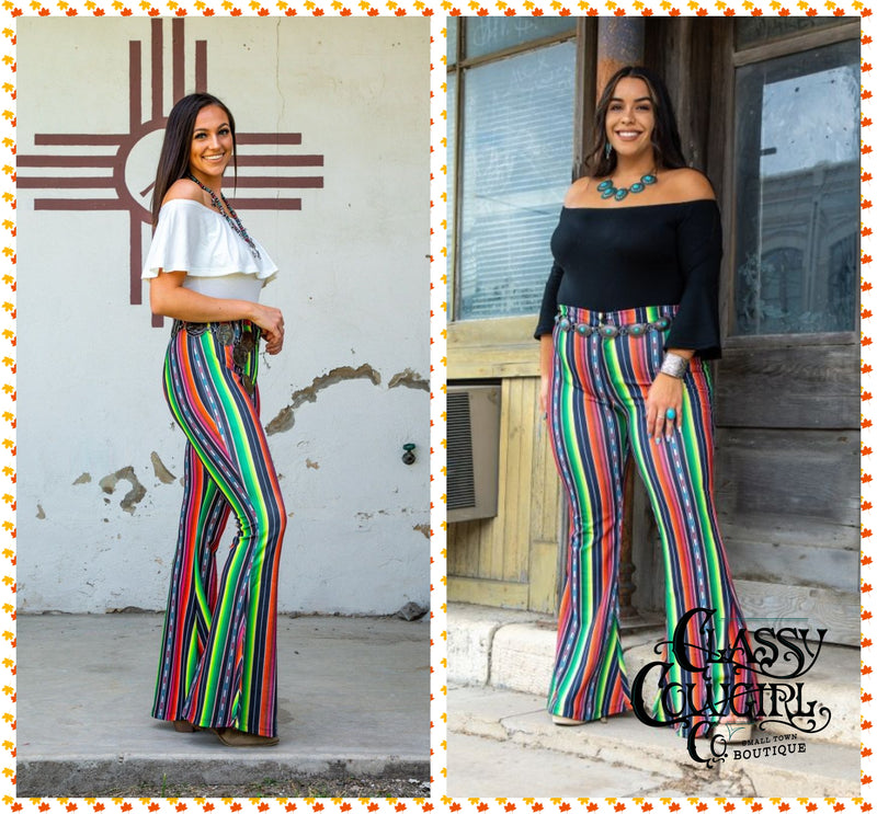Black Serape Stretchy Super Bell Bottoms - Reg AND Plus- HXY02 BS