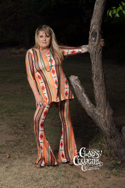 Classy Cowgirl Co Flared Pants - VL8