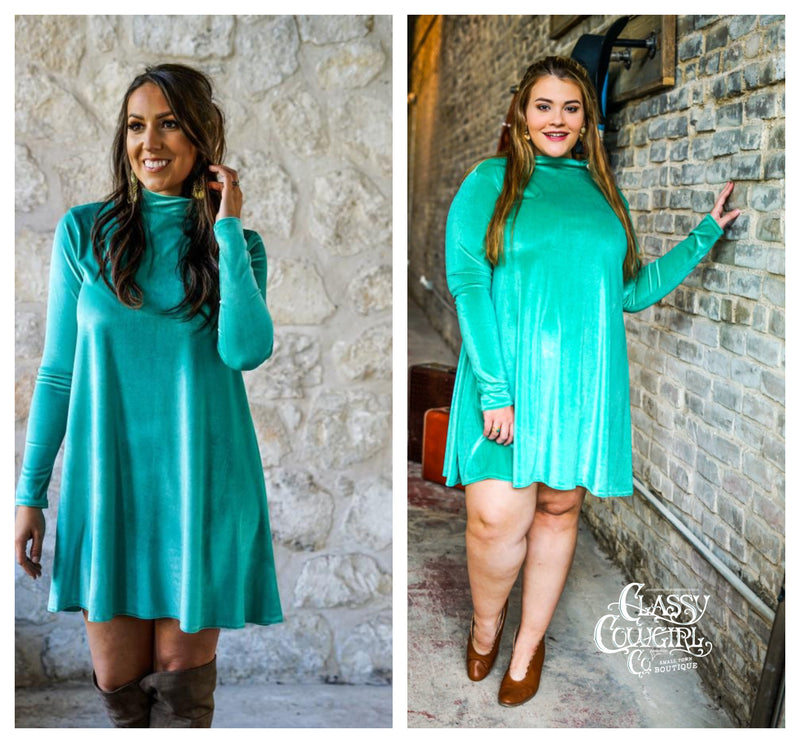 Aqua Velvet Long Sleeve Dress