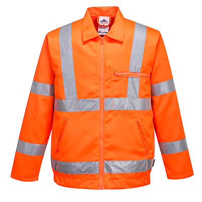 Hi-Vis Poly Cotton Jacket RIS - Rail Track Approved - RT40