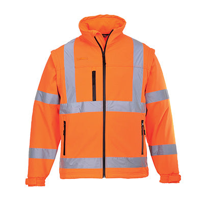 Hi Vis Softshell Jacket - detachable sleeves, bodywarmer  - S428