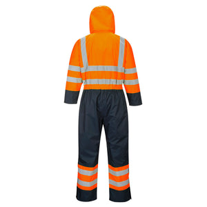 S485 - Hi-Vis Contrast Coverall - Lined Orange/Navy