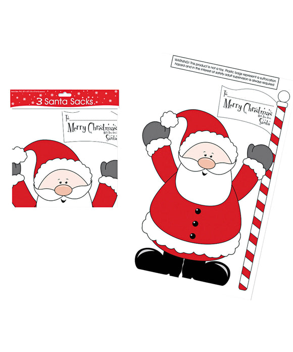 PVC Santa sacks (pack of 3)