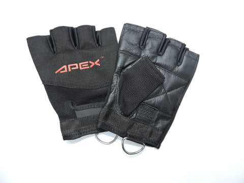 Genuine Leather Non Padded Gloves w/ D Rings