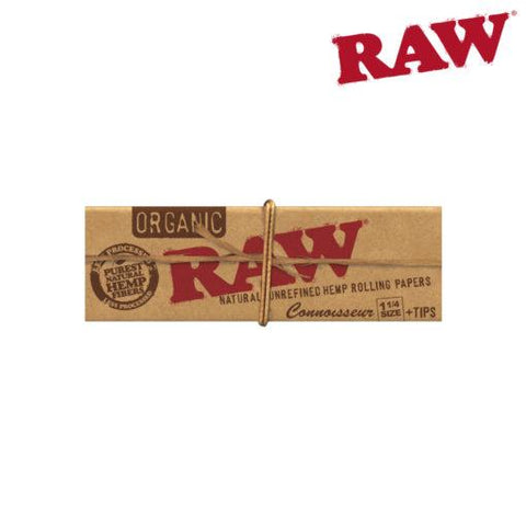 "Raw Organic Hemp Rolling Papers Connoisseur Classic 1-1/4"" With Tips"