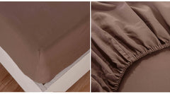 Cotton Blend Bed Sheet Set (Queen, Pine Bark Brown)