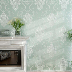 European Style Luxury 3D Damask Pearl Powder Finish Wallpaper Roll (Light Green)