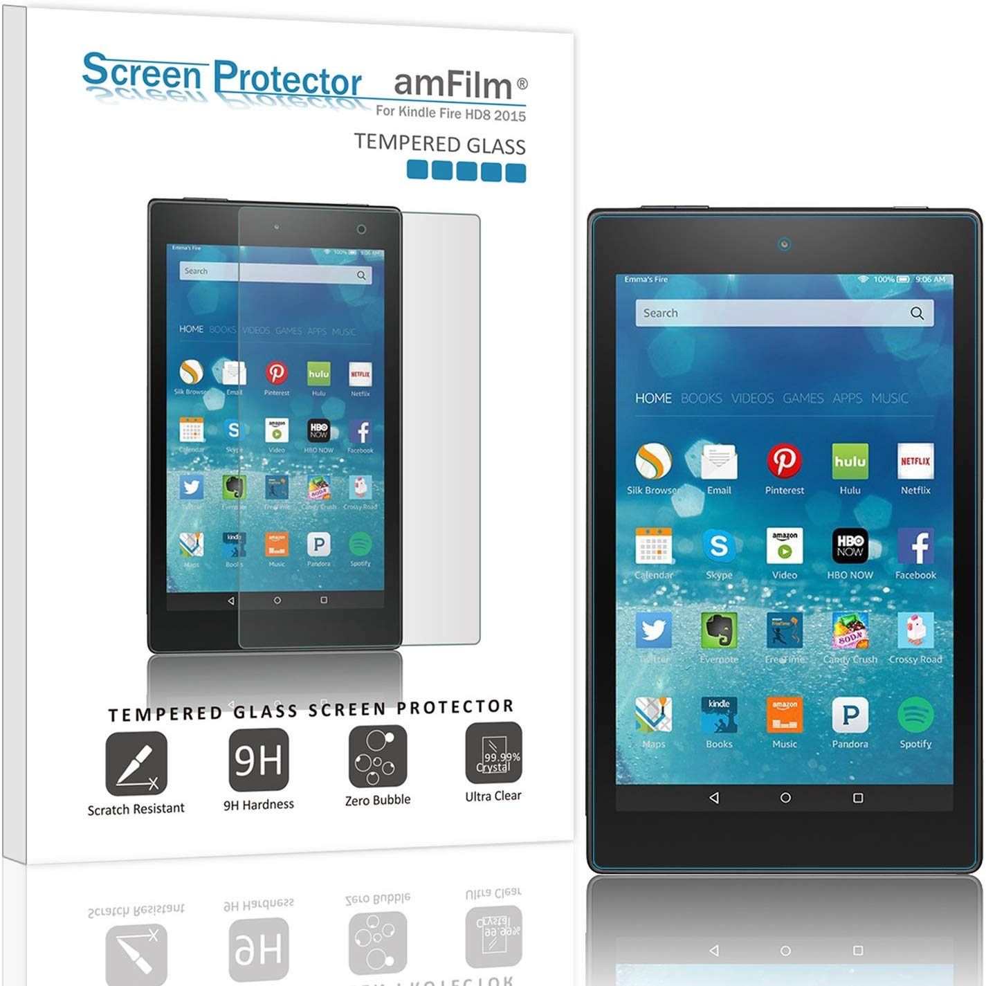 "Tempered Glass Screen Protector for Kindle Fire 8"" HD8 (5th Gen - 2015)"