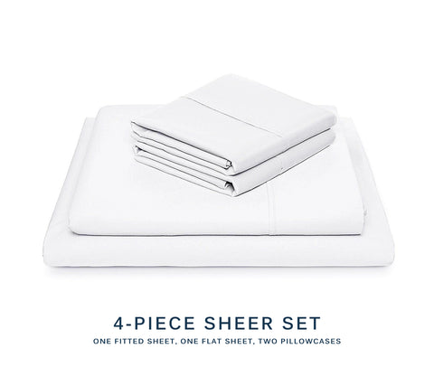Microfiber Sheet 4-Piece Set - Bamboo Viscose / Polyester - King Size, White