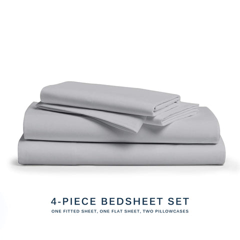 Mali Dreaming Casa Microfiber Bed Sheet 4-Piece Bedding Set - Queen Size, Gray