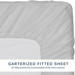 Mali Dreaming Casa Microfiber Bed Sheet 4-PC Size Bedding Set (Light Gray/White)