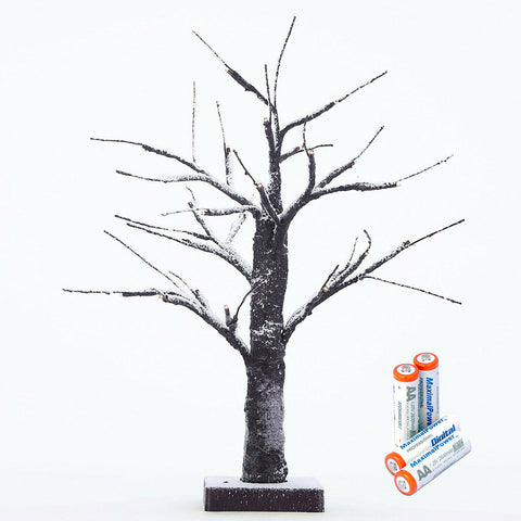 LED Snow Bonsai Tree Light 15 Inch Tabletop Lamp with 24 Lights