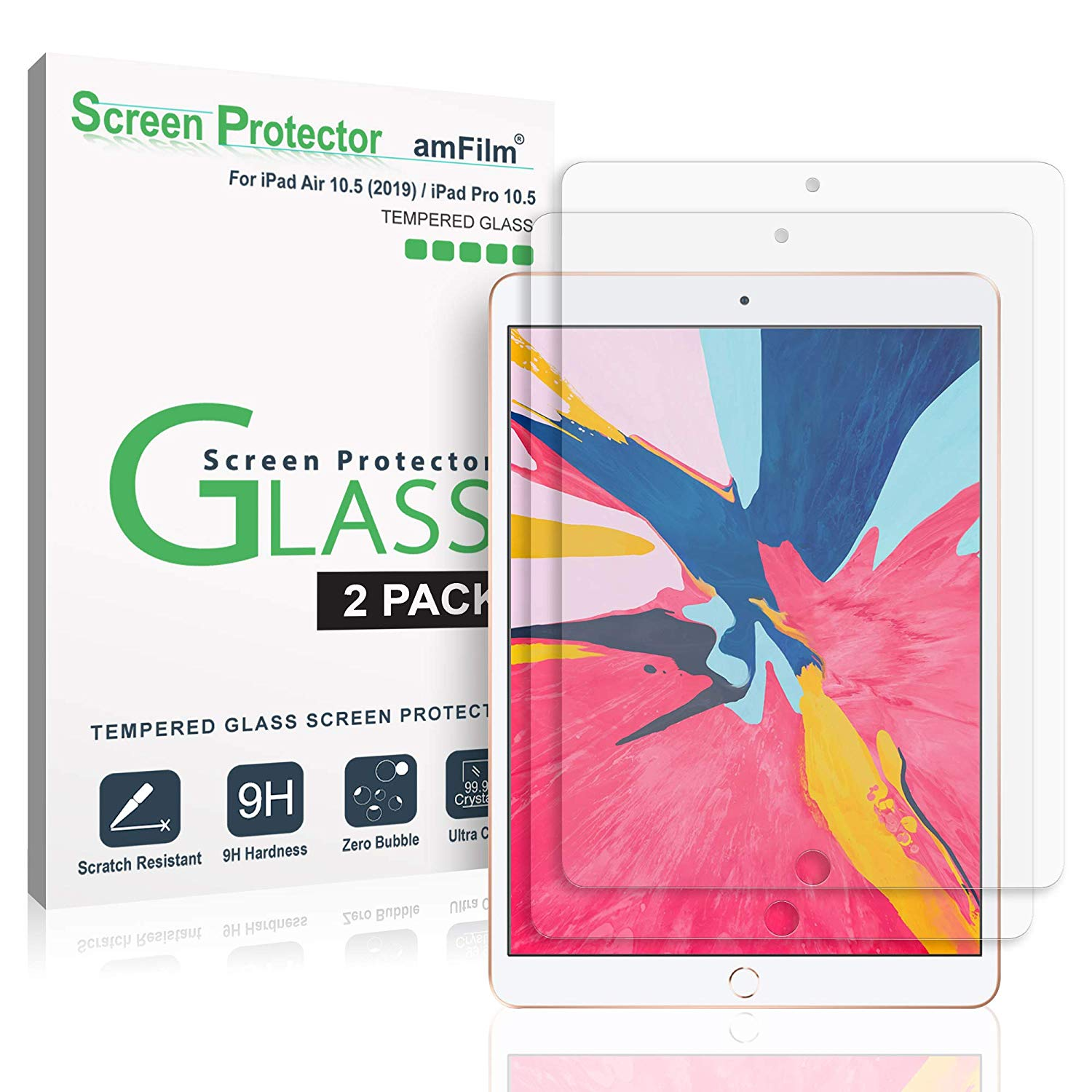 "Glass Screen Protector for iPad Air 3 (2019) 10.5"", iPad Pro 10.5"" (2PK)"