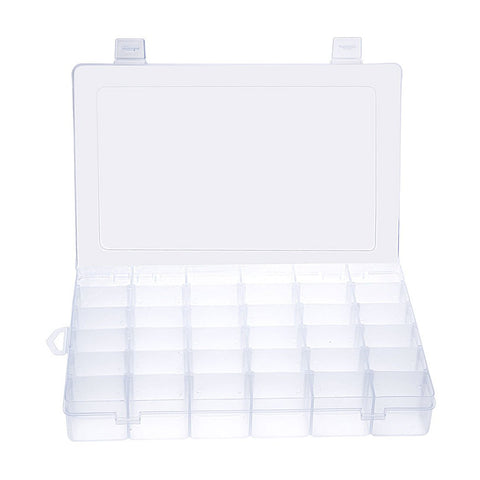 36 Grid Clear Plastic Jewelry Box Storage Organizer Storage w/ Removable Divider