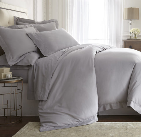 DUMEE 100% Cotton Cloth Duvet Cover Queen/Full Size Bedding (Grey, 3PC Set)
