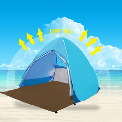 Portable Beach Tent w/ Anti-UV Sun Shade Summer Beach Tent (Blue)