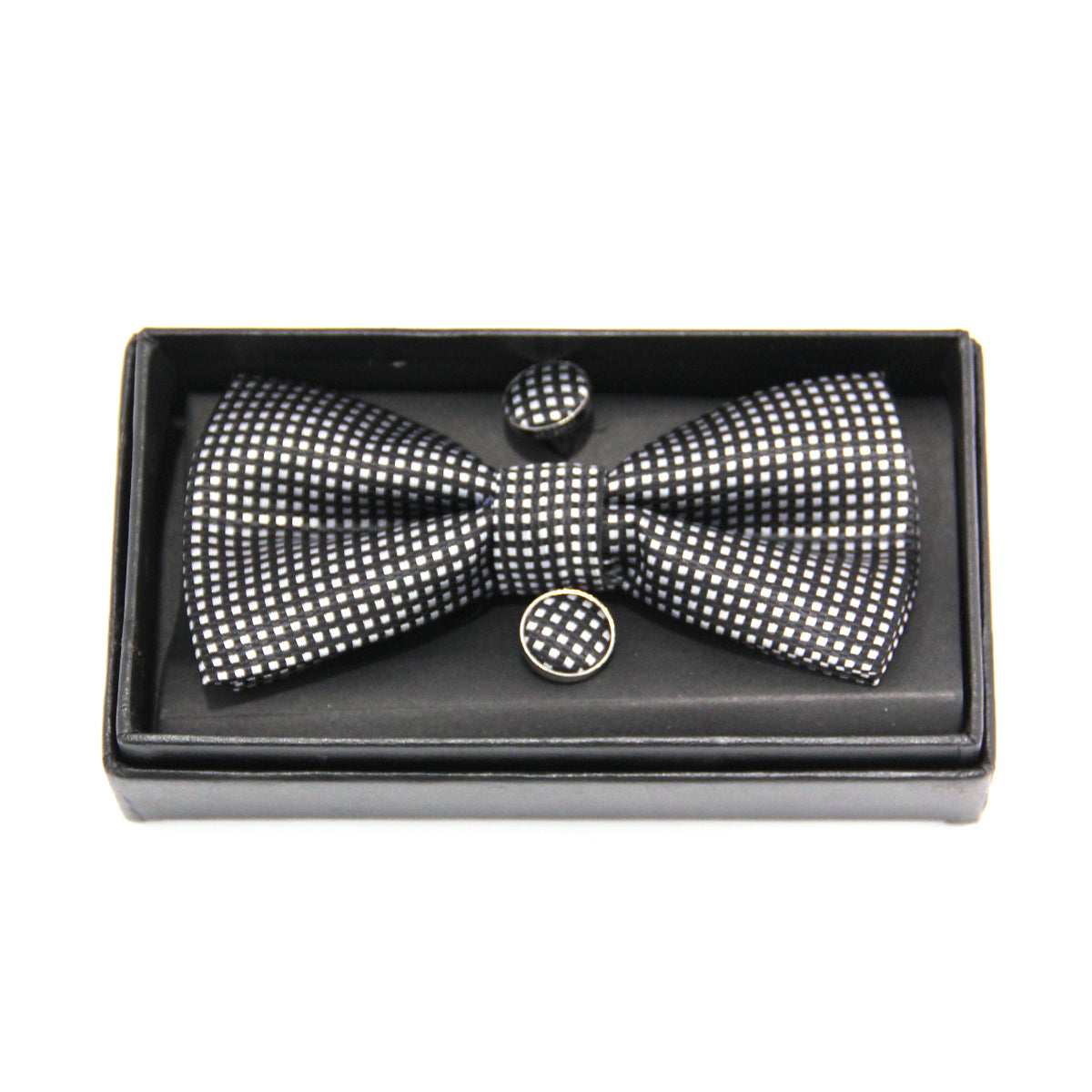 Pre-Tied Adjustable Bow Tie & Handkerchief & Cufflinks Set for Wedding Party