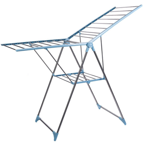 Drying Rack Large Straight Gull Wing Style Collapsible for Laundry Clothes (Blue & White)