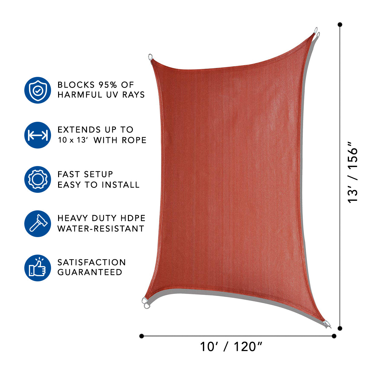 Sun Shade Sail for UV Ray Protection - Rectangle with Hardware Kit