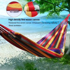 JUNELILY Colored Stripes Hanging Rope Hammock for Outdoors Backyard Camp