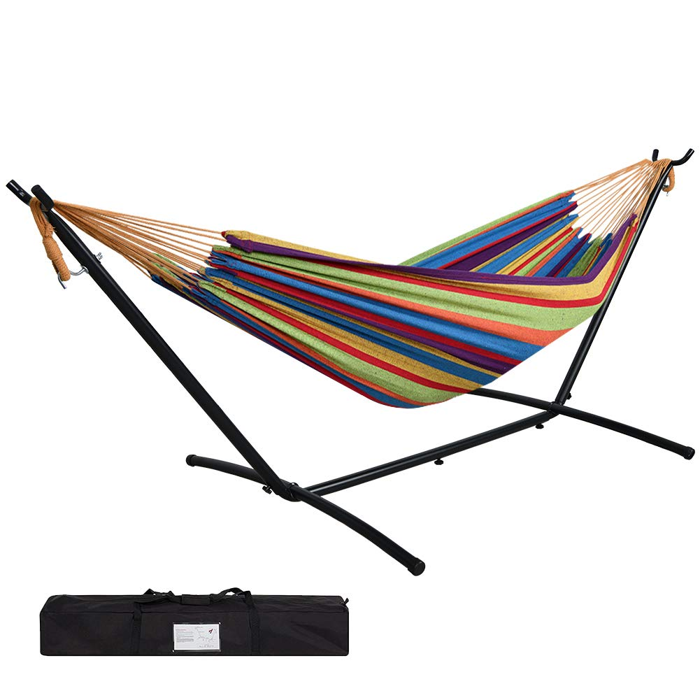 JUNELILY 9' Double Hammock with Space Saving Steel Stand for 2 Persons