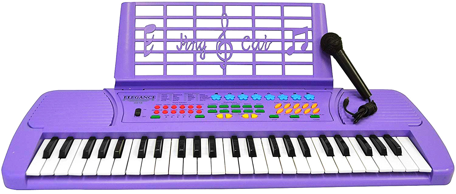 JUNELILY 49-Key Mid-Size Piano Keyboard for Kids With Music Rest & Mic