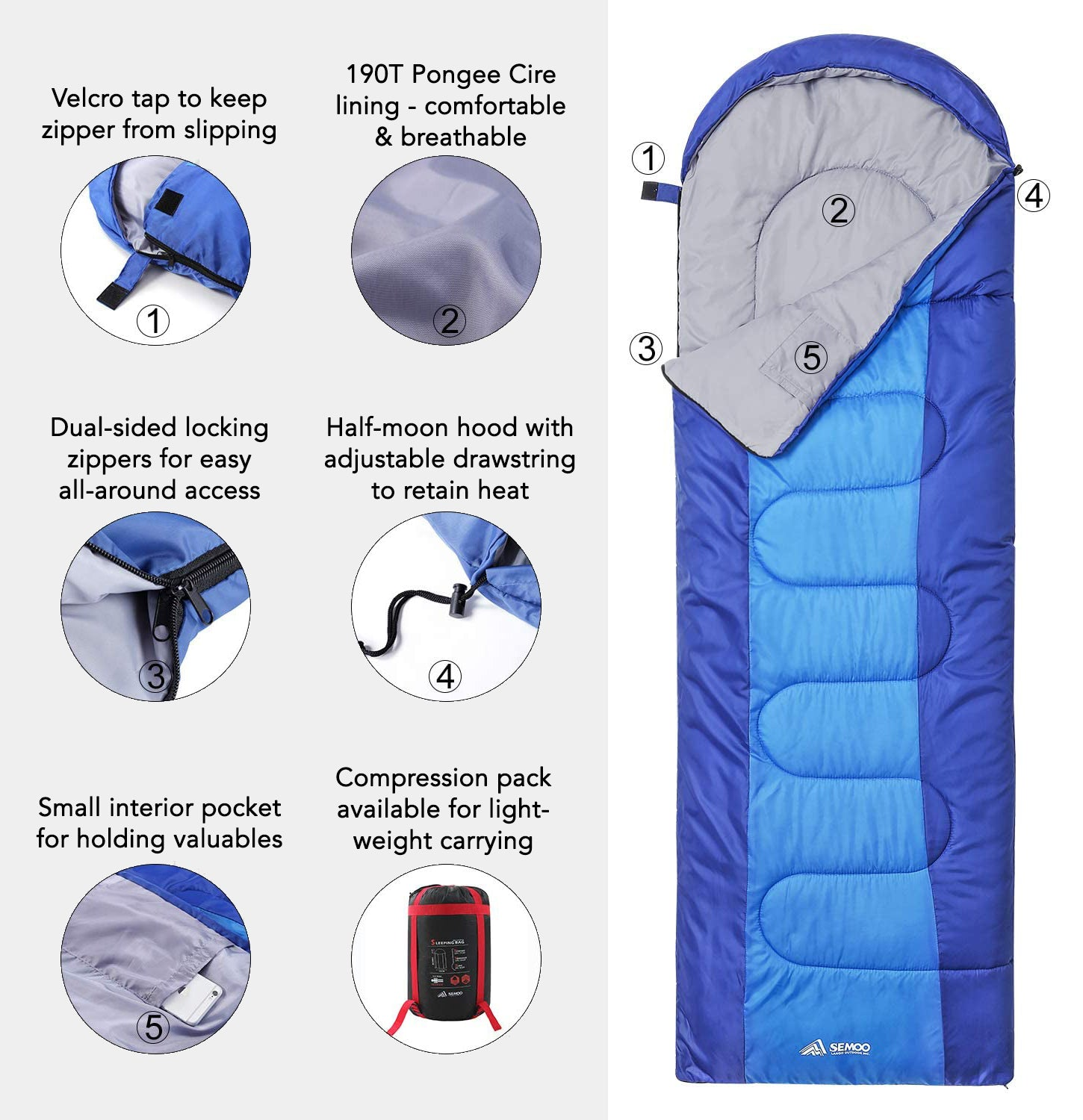 JUNELILY Camping Sleeping Bag for 3 Seasons Summer, Spring, Fall | Lightweight & Waterproof for Adult's & Kid's Camping Gear Equipment | Camping, Travel, Beach, Outdoors