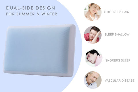 Memory Foam Cool Gel Pillow, Plush Hypoallergenic Night Sleep - Standard Size