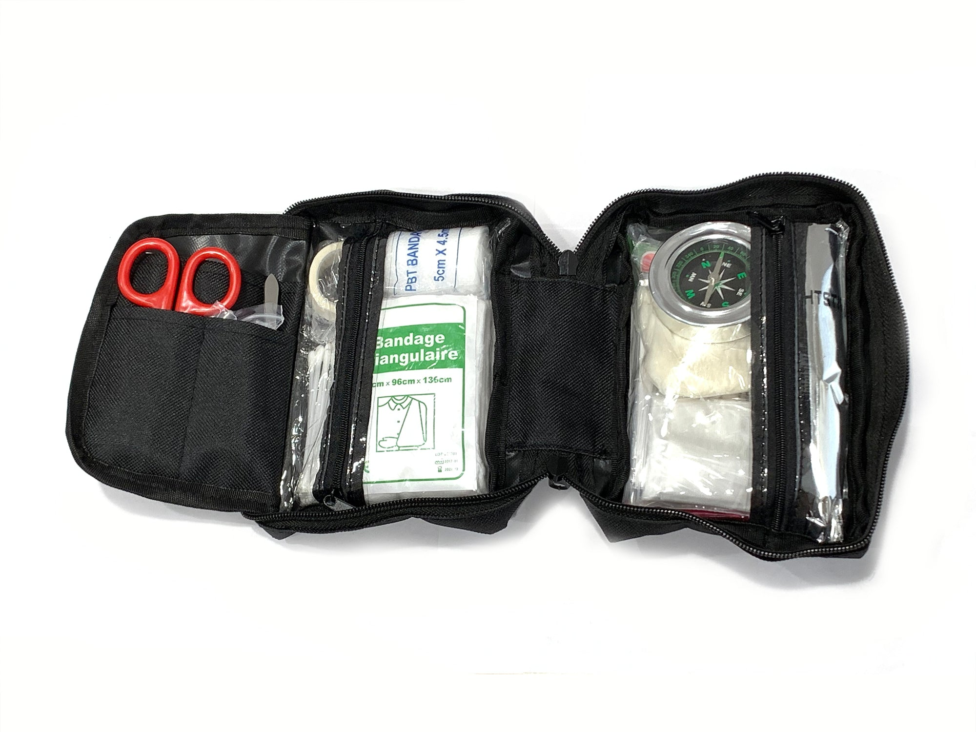 Black Emergency First Aid Kit SOS, 95 PC Set For Car Home Travel Backpacking