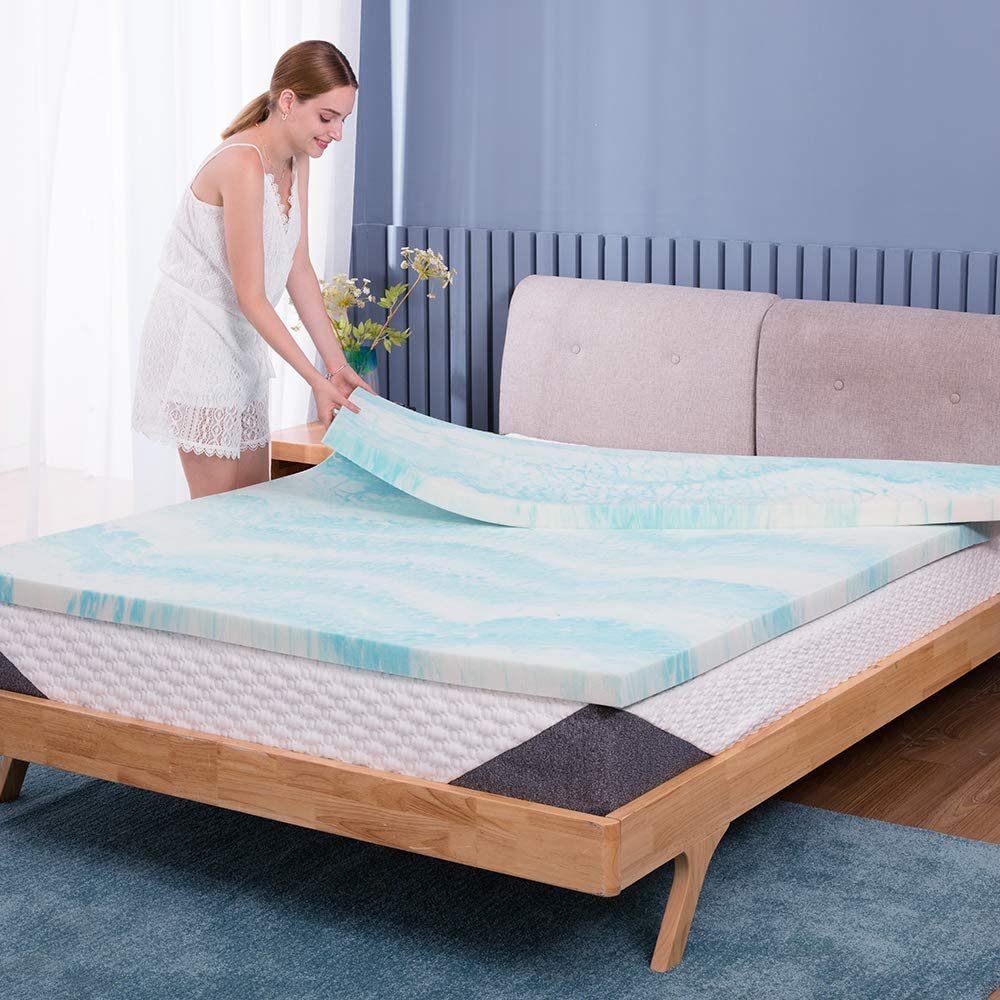 POLAR SLEEP Mattress Topper King, 3 Inch Swirl Memory Foam Mattress Topper with Ventilated Design - King Size
