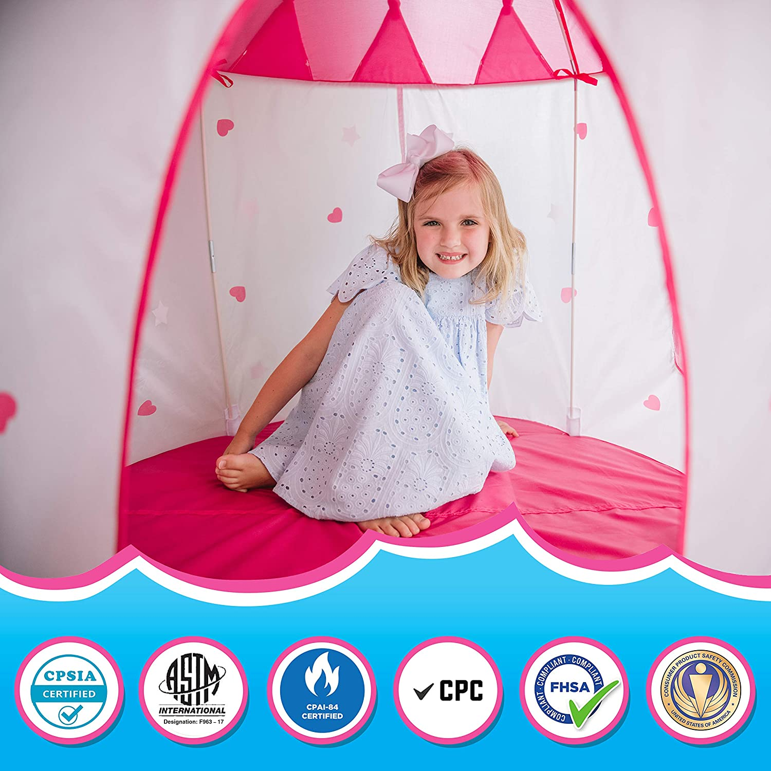 Princess Castle Play Tent With Glow In The Dark Stars Foldable with Carry Case