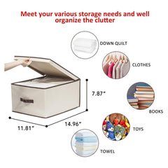 Lidded Canvas Storage Boxes with Handle For Closet Wardrobe Drawer Organization