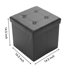 Collapsible Storage Ottoman | 15 x 15 x 15 Inch Faux Leather Storage Box