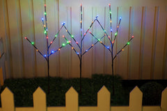 JUNELILY WED 26 Inch Brown LED Lighted Branch Stake with 60 LED Bulbs, 3 Pack Set, Warm White Light for Outdoor and Indoor Use