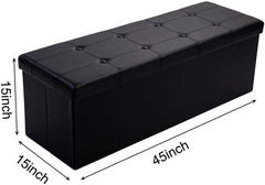 Collapsible Storage Ottoman | 45 x 15 x 15 Inch Faux Leather Storage Box Seat