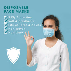 Disposable Face Mask - Non Woven Non Latex Breathable - 50 Pack