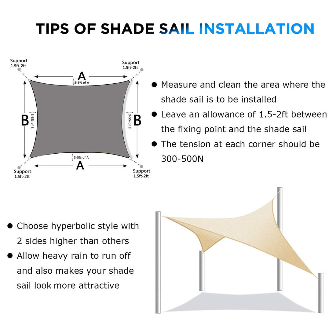 Sun Shade Sail for UV Ray Protection - Rectangle (No Hardware Kit)