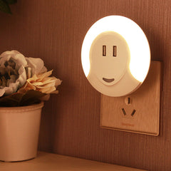 JUNELILY HARRINISA Double USB Port LED Night Light (Warm White)